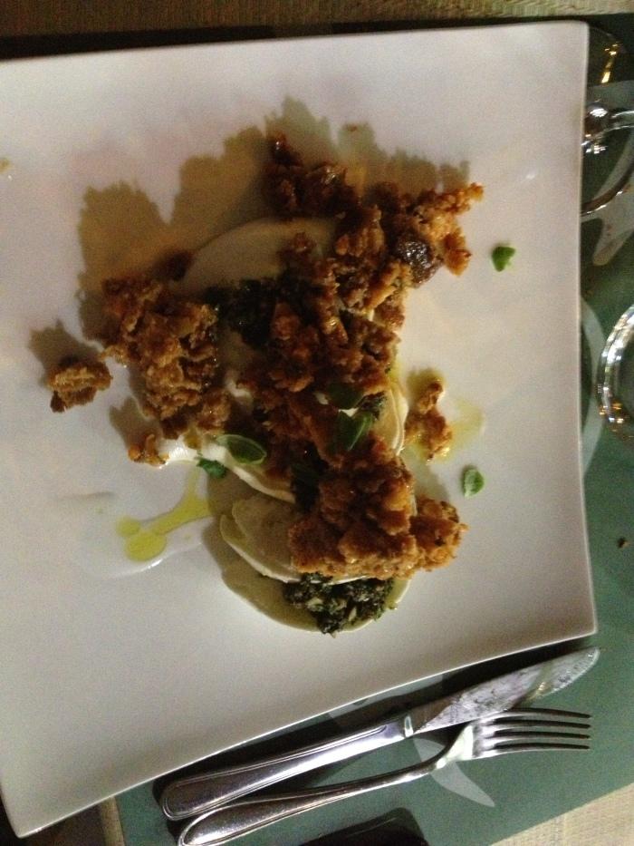Carpaccio di mozzarella di Bufala  panzanella di pane di Matera e pesto di pomodori secchi, erbe e mandorle d' Avola