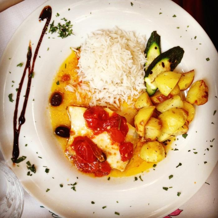 Riso Pilaf con verdure e filetto di Sanpietro alla ligure